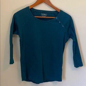 L.L. Bean XS 3/4 sleeve Teal shirt